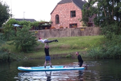 Lynsey high front angel on Duncan on large paddle board